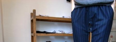 Wool light flannel stripe pants